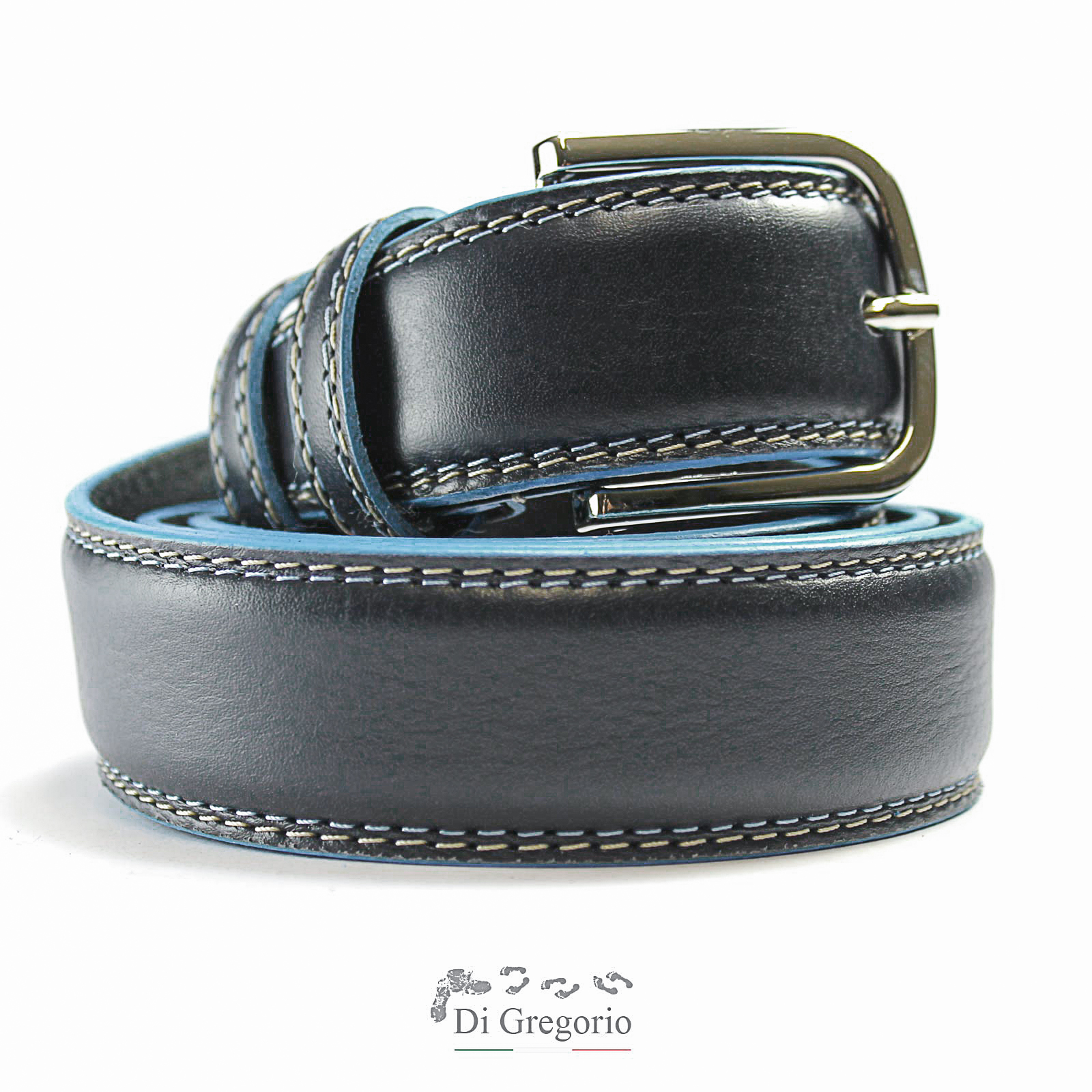 CINTURA IN PELLE DA UOMO COLORI BLU NERO MARRONE BORDO CELESTE MEN'S LEATHER BELT COLORS BLUE BLACK BROWN CELESTE EDGE